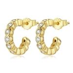 S925 Sterling Silver Geometric Simple Fashion Ear Studs Women Earrings, Color:White Zircon Gold