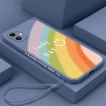 Straight Edge Rainbow Pattern Liquid Silicone Protective Case with Hand Strap For iPhone 11(Lavender Grey)
