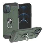 War-god Armor TPU + PC Shockproof  Magnetic Protective Case with Ring Holder For iPhone 12 Pro Max(Deep Green)