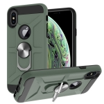 War-god Armor TPU + PC Shockproof  Magnetic Protective Case with Ring Holder For iPhone XS Max(Deep Green)