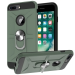 War-god Armor TPU + PC Shockproof  Magnetic Protective Case with Ring Holder For iPhone 8 Plus / 7 Plus(Deep Green)