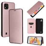 For OPPO Realme C20 Carbon Fiber Texture Magnetic Horizontal Flip TPU + PC + PU Leather Case with Card Slot(Pink)