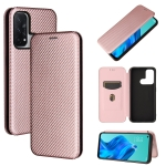 For OPPO Reno 5A(Japan version) Carbon Fiber Texture Magnetic Horizontal Flip TPU + PC + PU Leather Case with Card Slot(Pink)