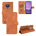 For Nokia 1.4 Solid Color Skin Feel Magnetic Buckle Horizontal Flip Calf Texture PU Leather Case with Holder & Card Slots & Wallet(Brown)
