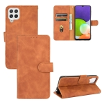 For Samsung Galaxy A22 4G Solid Color Skin Feel Magnetic Buckle Horizontal Flip Calf Texture PU Leather Case with Holder & Card Slots & Wallet(Brown)