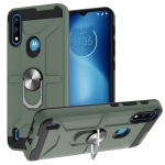 For Motorola Moto E7 Power 2021 War-god Armor TPU + PC Shockproof Magnetic Protective Case with Ring Holder(Deep Green)