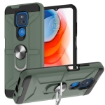 For Motorola Moto G Play 2021 War-god Armor TPU + PC Shockproof Magnetic Protective Case with Ring Holder(Deep Green)