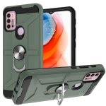 For Motorola Moto G10 / G30 War-god Armor TPU + PC Shockproof Magnetic Protective Case with Ring Holder(Deep Green)
