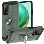 For Xiaomi Mi 10T/ 10T Pro / Redmi K30S War-god Armor TPU + PC Shockproof Magnetic Protective Case with Ring Holder(Deep Green)