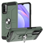 For Xiaomi Redmi 9 Power / Note 9 4G / Poco M3 War-god Armor TPU + PC Shockproof Magnetic Protective Case with Ring Holder(Deep Green)