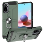 For Xiaomi Redmi Note 10 / Note 10S War-god Armor TPU + PC Shockproof Magnetic Protective Case with Ring Holder(Deep Green)