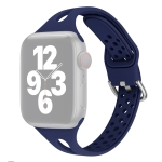 Silicone Replacement Watchbands For Apple Watch Series 6 & SE & 5 & 4 40mm / 3 & 2 & 1 38mm(Midnight Blue)