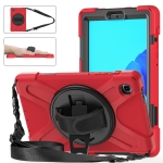 For Samsung Galaxy Tab A7 Lite T220 / T225 Silicone + PC Protective Case with Holder & Shoulder Strap(Red)