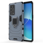 For OPPO Reno6 Pro+ 5G Shockproof PC + TPU Protective Case with Magnetic Ring Holder(Navy Blue)