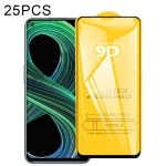 For OPPO Realme 8 5G 25 PCS 9D Full Glue Full Screen Tempered Glass Film