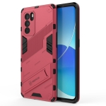 For OPPO Reno6 Pro 5G Punk Armor 2 in 1 PC + TPU Shockproof Case with Invisible Holder(Light Red)