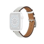 B Style Leather Strap Watchband For Apple Watch Series 6 & SE & 5 & 4 44mm / 3 & 2 & 1 42mm(White)