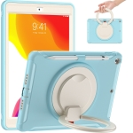 Shocproof Silicone + PC Protective Case with 360 Degree Rotation Foldable Handle Grip Holder & Pen Slot For iPad 10.2 2020 / 2019(Ice Crystal Blue)