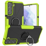 For Samsung Galaxy S21 FE Machine Armor Bear Shockproof PC + TPU Protective Case with Ring Holder(Green)