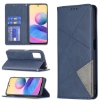 For Xiaomi Poco M3 Pro / Redmi Note 10 5G Rhombus Texture Horizontal Flip Magnetic Leather Case with Holder & Card Slots(Blue)