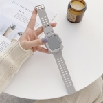 Solid Color Integrated TPU Replacement Strap Watchband For Apple Watch Series 6 & SE & 5 & 4 44mm / 3 & 2 & 1 42mm(Grey)