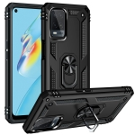For OPPO A54 4G Shockproof TPU + PC Protective Case with 360 Degree Rotating Holder(Black)