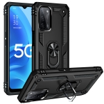 For OPPO A55 5G Shockproof TPU + PC Protective Case with 360 Degree Rotating Holder(Black)