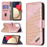 For Samsung Galaxy A03s Matching Color Crocodile Texture Horizontal Flip PU Leather Case with Wallet & Holder & Card Slots(Rose Gold)