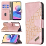 For Xiaomi Poco M3 Pro / Redmi Note 10 5G Matching Color Crocodile Texture Horizontal Flip PU Leather Case with Wallet & Holder & Card Slots(Rose Gold)