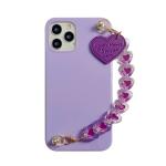 Straight Edge TPU Protective Case with Heart Chain For iPhone 12 Pro Max(Taro Purple)