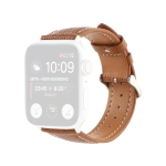 Cross Texture Leather Replacement Watchbands For Apple Watch Series 6 & SE & 5 & 4 44mm / 3 & 2 & 1 42mm(Brown)