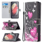 For Samsung Galaxy S21 Ultra 5G Colored Drawing Pattern Horizontal Flip PU Leather Case with Holder & Card Slots & Wallet & Lanyard(Be Careful)