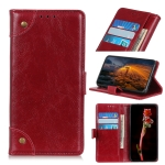 For Xiaomi Redmi Note 8 2021 Copper Buckle Nappa Texture Horizontal Flip Leather Case with Holder & Card Slots & Wallet(Wine Red)
