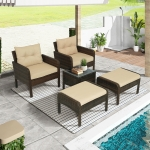 [US Warehouse] 5 in 1 PE Rattan Single Sofa Chair + Ottoman + Glass Table Outdoor Patio Furniture Set
