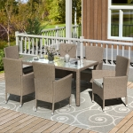[US Warehouse] 7 in 1 PE Rattan Single Sofa Chair + Rectangular Glass Table Outdoor Patio Furniture Set