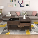 [US Warehouse] Top Wood Liftable Coffee Table with Drawer & Shelf, Size: 38.2 x 22.4 x 18 inch(Brown)