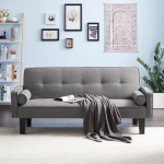 [US Warehouse] Linen Fabric Modern Convertible Sofa Bed with Removable Armrests, Size: 71.65×29.92×30.71 inch (Light Grey)