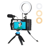 PULUZ 4 in 1 Bluetooth Handheld Vlogging Live Broadcast Smartphone Video Rig + 4.7 inch 12cm Ring LED Selfie Light Kits with Microphone + Tripod Mount + Cold Shoe Tripod Head for iPhone, Galaxy, Huawei, Xiaomi, HTC, LG, Google, and Other Smartphones (Blue)