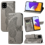 For Samsung Galaxy A22 5G Butterfly Love Flowers Embossed Horizontal Flip Leather Case with Holder & Card Slots & Wallet & Lanyard(Grey)