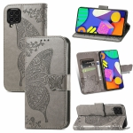 For Samsung Galaxy F62 Butterfly Love Flowers Embossed Horizontal Flip Leather Case with Holder & Card Slots & Wallet & Lanyard(Grey)