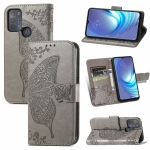 For Motorola Moto G50 Butterfly Love Flowers Embossed Horizontal Flip Leather Case with Holder & Card Slots & Wallet & Lanyard(Grey)