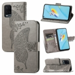 For OPPO A54 4G Butterfly Love Flowers Embossed Horizontal Flip Leather Case with Holder & Card Slots & Wallet & Lanyard(Grey)