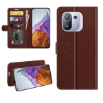 For Xiaomi Mi 11 Pro 5G / 4G R64 Texture Single Horizontal Flip Protective Case with Holder & Card Slots & Wallet& Photo Frame(Brown)