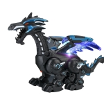 Electric Mechanical Dinosaur Toy Simulation Animal Toy Multifunctional Sound And Light Toy, Style:  Spray-Dark Black