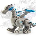 Electric Mechanical Dinosaur Toy Simulation Animal Toy Multifunctional Sound And Light Toy, Style: No Spray-Gray