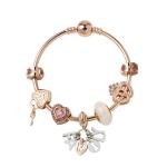 MGZ03 Rose Gold Love Heart Lock Decorative Bracelet, Length: 19cm