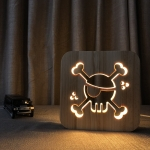 FS-T1875W 2.5W Pirate Shape Solid Wood Table Lamp LED Night Light(Warm White Light)