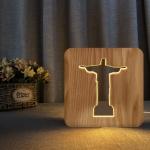 FS-T1971W 2.5W Jesus Pastor Table Lamp USB Solid Wood Hollow Night Light(Warm White Light)