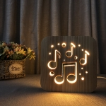 FS-T1880W 2.5W Musical Note 3D Solid Wood Lamp LED Night Light(Warm White Light)