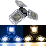 60W LED Industrial Mining Light Waterproof Light Sensor Folding Tri-Leaf Garage Lamp(White Light)